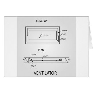 Diagram of a ventilator showing plan and elevation card