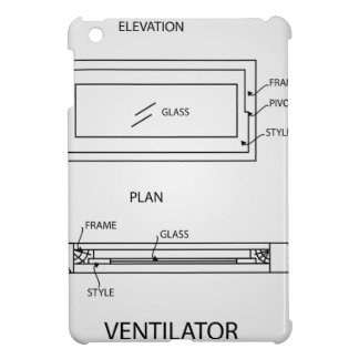 Diagram of a ventilator showing plan and elevation case for the iPad mini