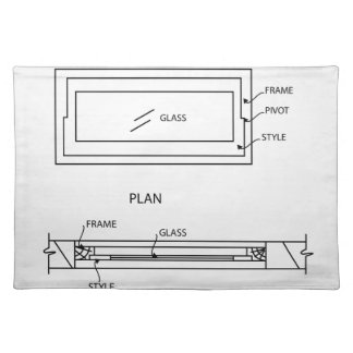 Diagram of a ventilator showing plan and elevation cloth place mat