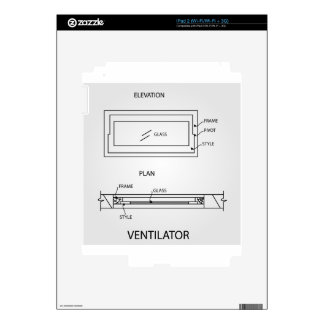 Diagram of a ventilator showing plan and elevation decal for iPad 2