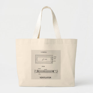 Diagram of a ventilator showing plan and elevation large tote bag