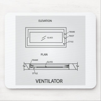 Diagram of a ventilator showing plan and elevation mouse pad