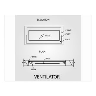 Diagram of a ventilator showing plan and elevation postcard