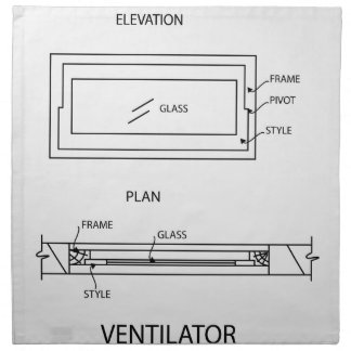 Diagram of a ventilator showing plan and elevation printed napkins