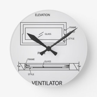 Diagram of a ventilator showing plan and elevation round clock
