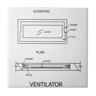 Diagram of a ventilator showing plan and elevation tile