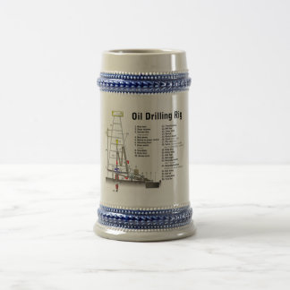 Diagram of an Oil Drilling Rig Tower 18 Oz Beer Stein