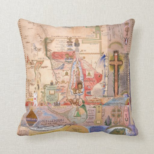 Diagram of the Apocalypse by Henry Dunant Throw Pillows