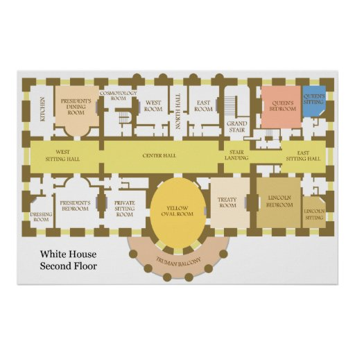 Diagram Of The Second Floor Of The White House Print