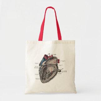 Diagrama anatómico del corazón del vintage bolsa tela barata