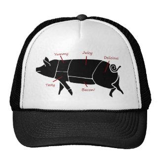 Diagrama de carta divertido del carnicero del cerd gorro de camionero