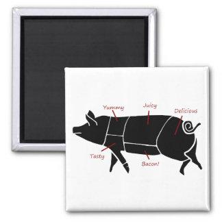 Diagrama de carta divertido del carnicero del cerd imán para frigorifico