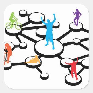 Diagrama de conexiones social de los medios pegatina cuadrada