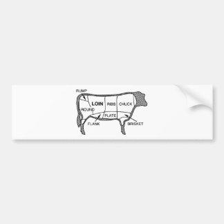 Diagrama de la carne de vaca pegatina para auto