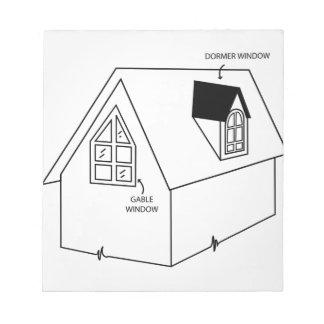 Diagrama de la ventana del dormer y de aguilón blocs de papel