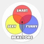Diagrama de Venn. Agentes inmobiliarios Pegatinas Redondas