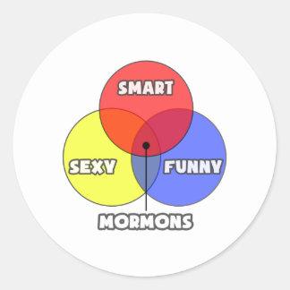 Diagrama de Venn. Mormones Pegatina Redonda