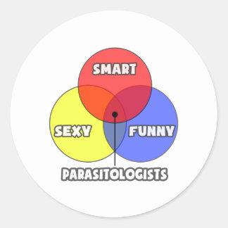 Diagrama de Venn. Parasitólogos Pegatina Redonda