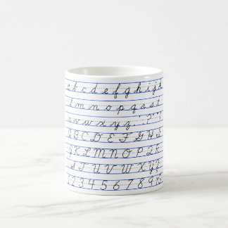 Diagrama del alfabeto inglés en escritura cursiva taza de café
