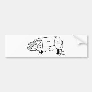 Diagrama del cerdo etiqueta de parachoque