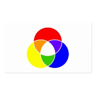 diagrama del venn del color tarjetas de negocios