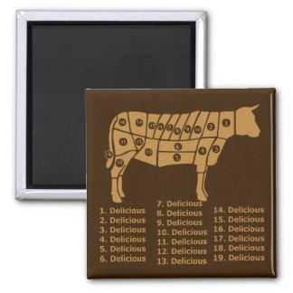 Diagrama divertido de la vaca imán cuadrado