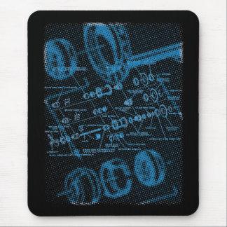 Diagrama estallado del eje (azul en oscuridad) alfombrilla de ratón