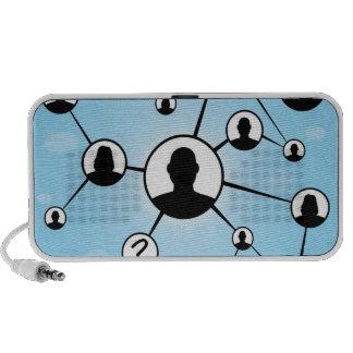 Diagrama social de los amigos de los medios mini altavoz