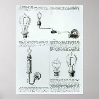 Diagramas de bombillas y de sus soportes póster