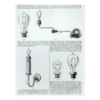 Diagramas de bombillas y de sus soportes tarjetas postales