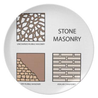 Diagramas de la albañilería de piedra platos para fiestas