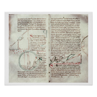 Diagramas de las medidas y del texto (vitela) póster