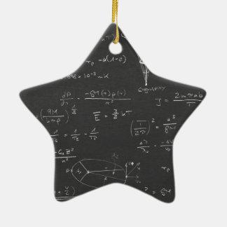 Diagramas y fórmulas de la astrofísica adorno navideño de cerámica en forma de estrella