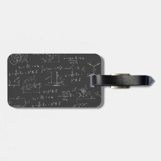 Diagramas y fórmulas de la física etiqueta para equipaje