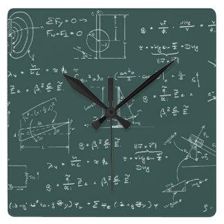 Diagramas y fórmulas de la física reloj cuadrado