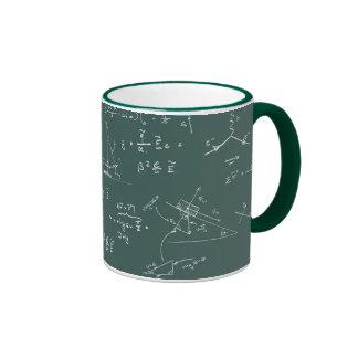 Diagramas y fórmulas de la física taza de dos colores