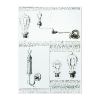 Diagrams of lightbulbs and their brackets canvas print