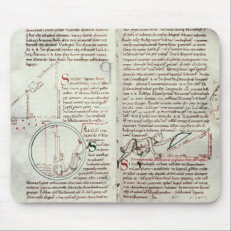Diagrams of measurements and text (vellum) mouse pad