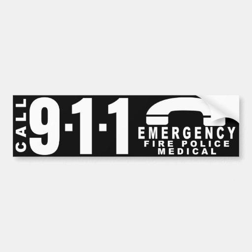 Dial 911 Police Sticker 9 Bumper Sticker