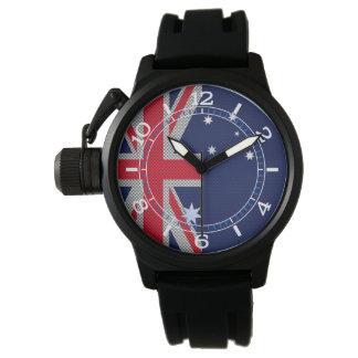 Dial australiano del estilo del cromo del carbono relojes de pulsera