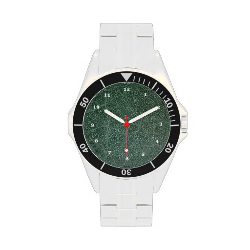 Dial de cuero verde oscuro: Demostración del tiemp Relojes De Mano