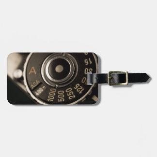 dial de la cámara de la película del vintage etiqueta para maleta