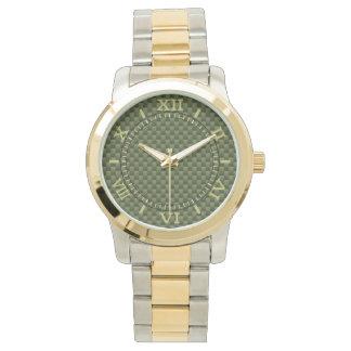 Dial de la fibra de carbono del verde caqui relojes
