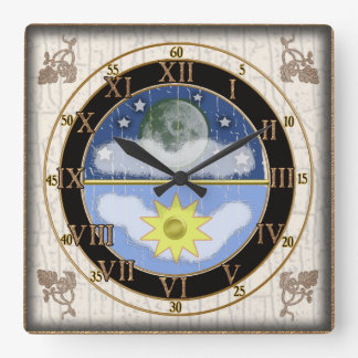 dial del sunmoon reloj cuadrado