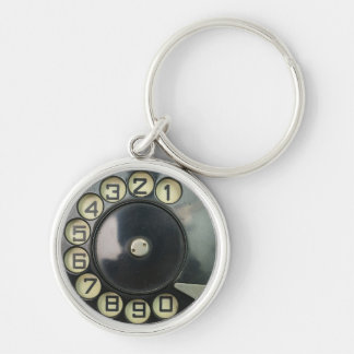 dial disk vintage retro phone number disc rotary keychain