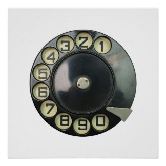 dial disk vintage retro phone number disc rotary poster
