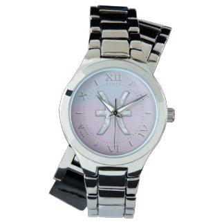 Dial nacarado del símbolo del zodiaco de Piscis Reloj De Mano