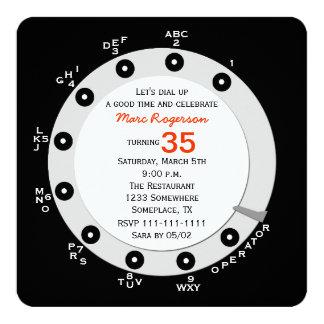Dial rotatorio de la 35ta de cumpleaños invitación invitación 13,3 cm x 13,3cm