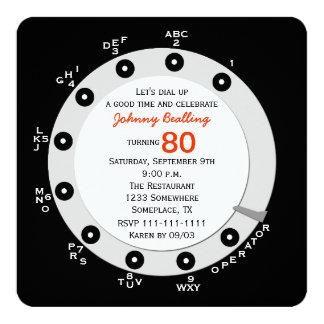 Dial rotatorio de la 80.a de cumpleaños invitación invitación 13,3 cm x 13,3cm