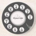Dial rotatorio del teléfono del monograma del vint posavasos personalizados